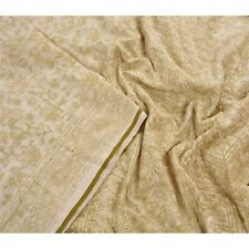 Sanskriti Vintage 100% Pure Cotton Saree Cream Painted Sari Craft Decor Fabric