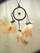 Black with Brown Web Dreamcatcher, Handmade, Hand on the rear view mirror