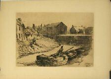 Gravure originale de Poulter,Bateaux sur une rivière