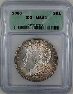 1886 Morgan Silver Dollar Coin, ICG MS-64 Lightly Toned