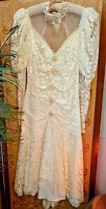 Vtg Gunne Sax Jessica McClintock? Ivory Lace Dress Victorian Wedding Tea sz 5/6