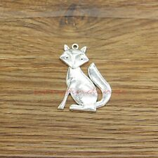 6 Fox Pendants Charms Red Fox Animal Woods Forest Charm Antique Silver 31x43 155