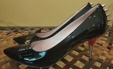Gucci Sadie Black Patent Leather Red Spiked Heel Pumps Size 40.5