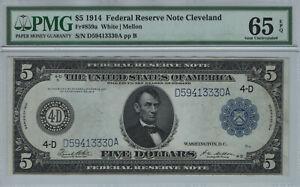 1914 $5 FEDERAL RESERVE NOTE CLEVELAND FR.859A WHITE MELLON PMG GEM UNC 65 EPQ