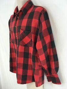 Outdoor Exchange Mens L Red Buffalo Plaid Grunge Portuguese Cotton Flannel Shirt