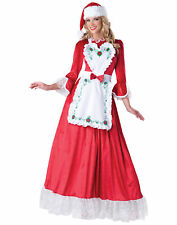 Mrs. Claus Red White Dress Apron Santa Adult Womens Christmas Costume