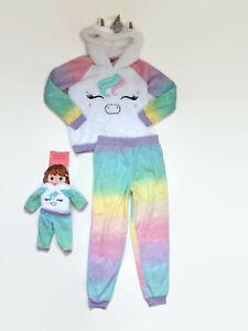St. Eve Girls Unicorn Hooded Fleece Pajamas and Matching Doll Pajama Set