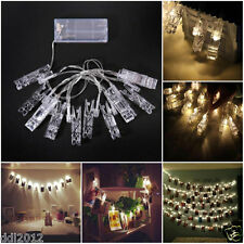 10 LED Clamp Hollow String Light Outdoor Christmas Party Pictures Decor Lamp NEW
