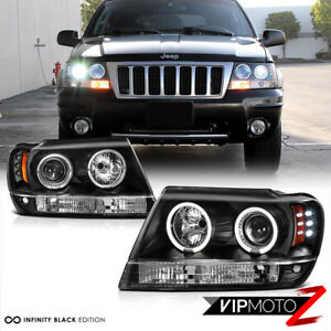 For 99-04 Jeep Grand Cherokee WJ WG Black LED Halo Angel Eye Projector Headlight