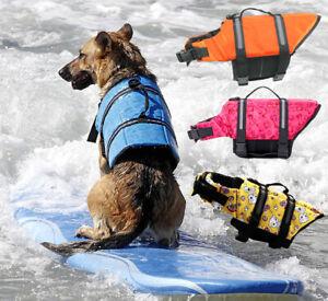 Dog Life Jacket Vest Safety Swimsuit Reflective Stripe Pet Adj PULL Handle