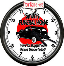 Smith's Funeral Home Director Mortician Personalize Your Name Sign Wall Clock