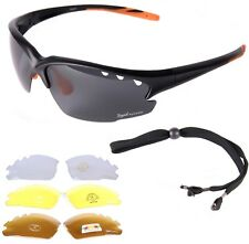 CYCLING RUNNING SUNGLASSES Polarised, Low Light, Clear Multi Lenses, Wrap Around