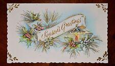Vintage UNUSED Christmas Card EMBOSSED GLITTER CANDLE GREETING Mid-Century