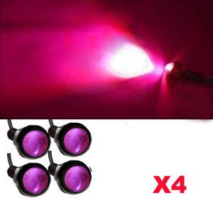 4X Purple Pink LED Slim Eagle Eye Daytime Running Light Screw DRL 9W Black case