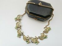 "VINTAGE 18"" Gold Tone Green Paste Necklace Choker"