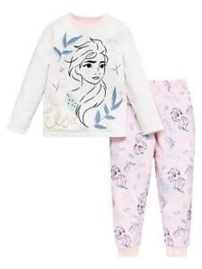 Disney Frozen Girls Elsa Fleece Long Sleeve PJs - Pink 7-8 Years