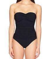 Profile by Gottex Womens Swimwear Black Size 10 Twist Bandeau Swimsuit $110- 000