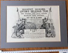1893 Antique Print - ADVERTISING Liptons Teas Elephants Indians Ceylon  (36)