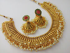 indian fashion jewelry necklace set bollywood ethnic gold traditional ns 115