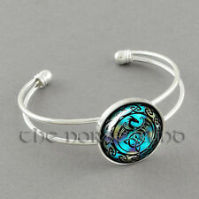 Dragon Bracelet Viking Trinity Celtic Knot Bangle Cuff Torc Silver Asatru Gothic