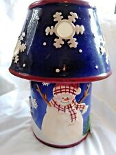 Holiday Time 2 Piece Ceramic Candle Lamp Christmas Snowman Snowflakes