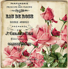 GorGeouS! VinTaGe IMaGe PinK RoSe FRenCh PerFuMe LaBeLs ShaBby WaTerSLiDe DeCALs