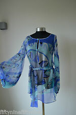 EMILIO PUCCI Blue Kaftan Dress Coverup Top  UK 8 / IT 40 Made in Italy