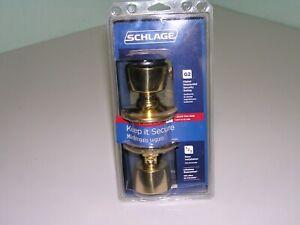 New Schlage F51VBEL505 Bell Bright Brass Entry Lockset ANSI Grade 2 1-3/4 in