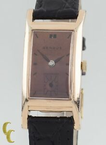 10k Rose Gold Filled Benrus Rectangle Hand-Winding Watch w/ Leather Band