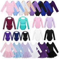 Girls Ballet Dance Dress Kids Gymnastics Long Sleeve Leotard Jumpsuit Dancewear