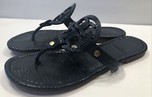 Tory Burch Miller Dark Blue Textured Leather Thong Sandals Sz 7 M