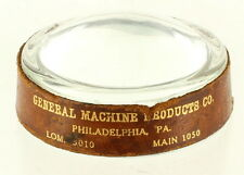 Vintage Advertising General Machine Products Magnifying Glass Paperweight Phila