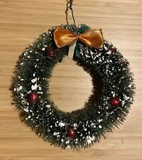 """Vintage 5"""" Christmas Tree Bottle Brush Wreath with Glass Ornaments, Snow, Ribbon"""