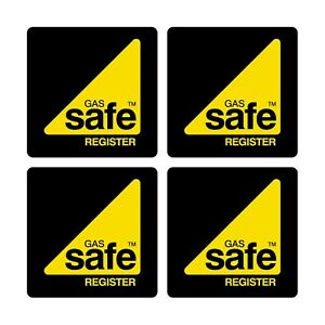 x2 Gas Safe Register Sticker Sign Decal -  size 100mm - self adhesive sticker