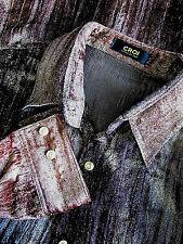 Vintage Croi Copper & Gold Lame Velvet Men's Mod Disco Era Shirt - L / XL