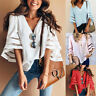 Women 3/4 Bell Sleeve V Neck Lace Patchwork Blouses Loose Shirt Summer Tops