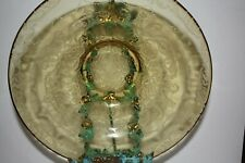"""Yellow Depression Glass Etched 11""""x4"""" Bowl"""