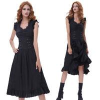Women's Black Steampunk Drawstrings Waist Dress Vintage Gothic Victorian Dresses