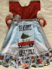 Camper Apron Oven Door Holiday Christmas Tree Towel Dress Red Holly Ruffle