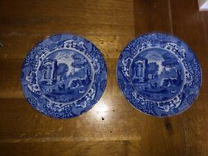 2 antique Spode Copeland blue & white Italian England 19cm plates