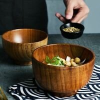 Japanese Style Wooden Bowl Wood Rice Soup Bowl Salad Bowl Food Container Large