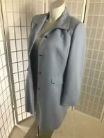 Tahari Arthur S Levine Sz 14 Baby Blue Long Lined Fitted Business Winter Coat