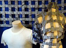 SILVER metallic fabric panel cage dress bdsm jail bondage curtain backdrop punk