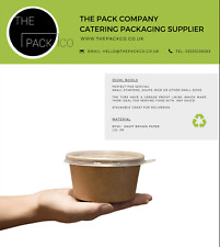 More details for 50 x kraft paper soup/sauce bowl & lids 350ml / 12oz takeaway food container