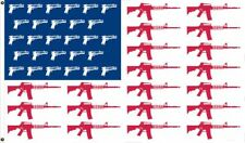 3x5 USA Guns and Pistols Machine Gun 1911 AR-15 Patriotic Flag 3'x5' Grommets