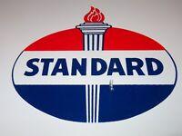"""VINTAGE STANDARD """"WHITE CROWN GASOLINE"""" 15"""" X 12"""" PORCELAIN METAL GAS & OIL SIGN"""