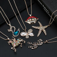 New Fashion Crystal Charm Pendant Metal Long Sweater Chain Necklace Jewelry