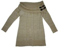 CABLE KNIT SWEATER DRESS 14 soft SLOUCHY fit OFF SHOULDER belt buckle CAMEL xc