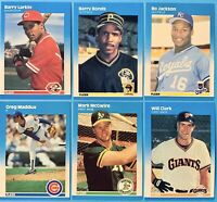 (6) 1987 Fleer Rookie Baseball Card Lot Bonds McGwire Maddux Larkin