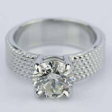 14K White Gold Plating Silver 1ct Moissanite Womens Solitaire Engagement Ring